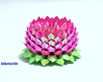 A Piece of Large Size Violet Red Color Origami Lotus. 132 Petals. (AV paper series).