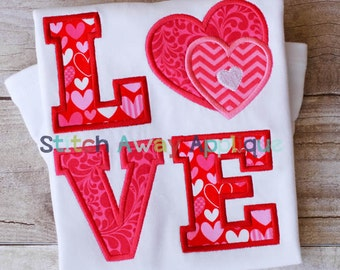 Valentine's Day LOVE Hearts Machine Embroidery Applique Design