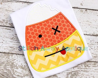 Zombie Candy Corn Halloween Machine Applique Design