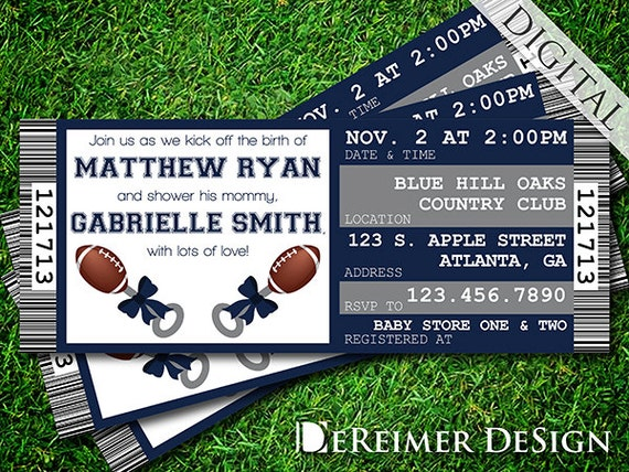 sports ticket baby boy shower invitation cowboys dallas