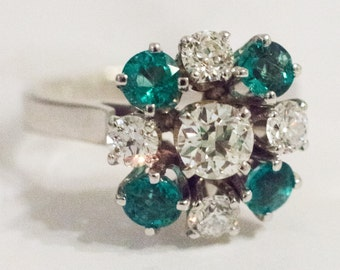 1950's 14K White Gold Lady's Cocktail Ring with Diamonds and Emeralds