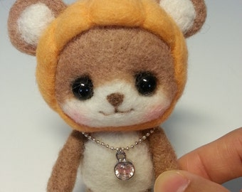 Made to Order - Needle Felted PiPi the Pumpkin Bear - Payment 1 for Ginger