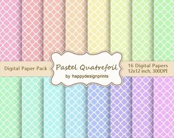 "Pastel Quatrefoil Wallpaper Digital Paper Pack of 16, 300 dpi, 12""x12"" Instant Download Pattern Paper Scrapbooking, Invites, Cards JPG"