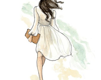 Fashion Illustration Art Print: Summer Breeze