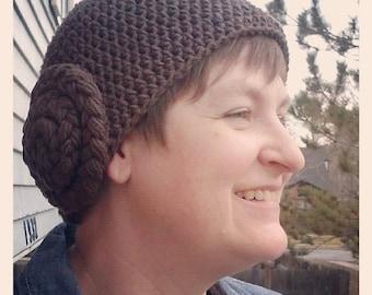 Princess Leia Star Wars Crochet Hat Adult size