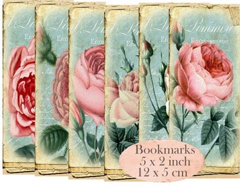 Vintage Rose Bookmarks Instant Download digital collage sheet E184 Vintage Paper Flowers
