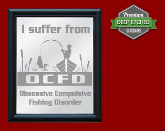 "Fishing Sign, Etched Mirror with Fishing Design, 23.5"" x 19.5"" with decorative black frame"