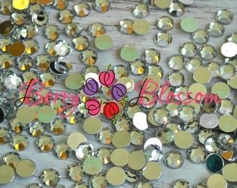 10mm Flatback Rhinestones - Clear Acrylic flat back Rhinestone - Gem Embellishments - You Choose 25 pc or 50 pc