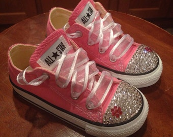 Low Top Bling Converse With Matching Flower
