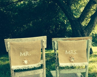 Burlap and Lace Mr & Mrs chair signs