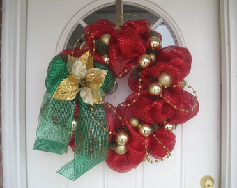 Ornament Christmas wreath, deco mesh wreath, holiday wreath, Christmas decorations, mantel decor, front door wreath, Christmas decor, W1118