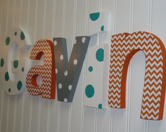 Hanging nursery letters, orange, gray & teal nursery letters, baby boy nursery letters, nursery decor, nursery wall letters