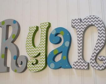 Hanging nursery letters, baby boy nursery letters, blue, lime green & white nursery wall letters