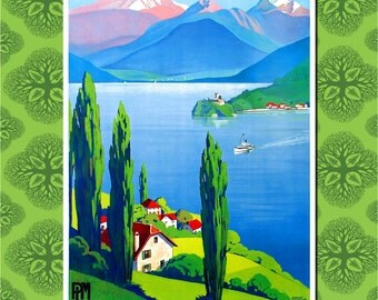 Lake Annecy, France Travel Poster Wall Decor, Travel Art (7 print sizes available)