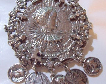 Royal Coin Brooch Pendant With Rhinestones