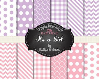It's a Girl - Pink & Purple digital papers - 12x12 and 8.5x11 300 dpi