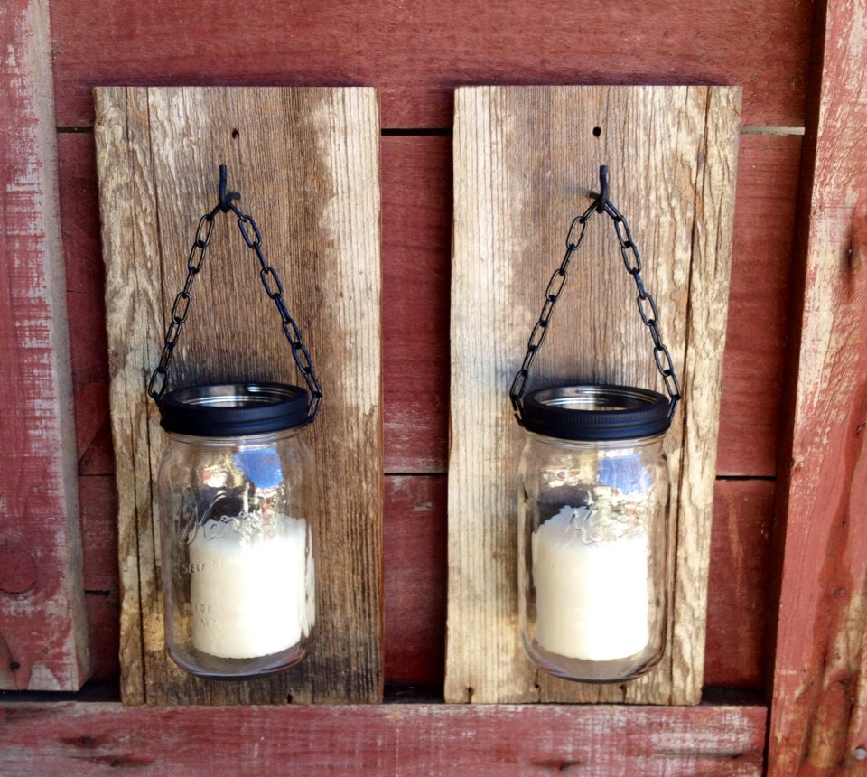 large barn wood mason jar candle holders by thesalvagednail. Black Bedroom Furniture Sets. Home Design Ideas