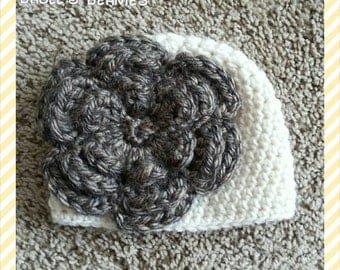 Cream Colored Beanie with Large Brown Flower--Sizes Newborn-Extra Large Adult