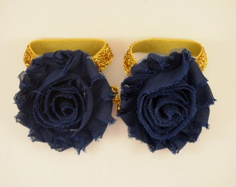 Navy and Gold Glitter Barefoot Baby Sandals - Flower Shoe Clips - Baby Sandals - Baby Shoes - Infant Sandals - Notre Dame Colors
