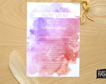 Sunset Wedding Invitation, Beach Wedding Invitation - digital or printed, tropical wedding invite, destination wedding invite on watercolour