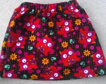 Corduroy Owl Print Skirt