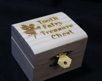 Tooth Box - Tooth fairy Treasure chest laser engrave unfinished wooden box