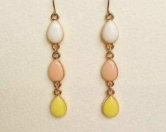 White/Pale Pink/Pale Yellow Earrings, Three Teardrops Resin Earrings, Hypoallergenic, Resin Jewelry
