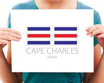 Cape Charles - Virginia - Nautical Flag Art Print