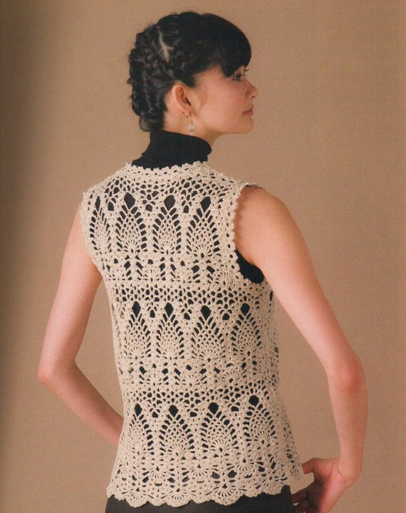 Free Crochet Pattern Lace Vest : Crochet Summer Spring Pineapple Lace Vest Pattern by ...