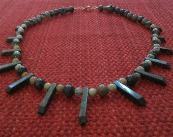 gaia: zebra jade and flower jasper beads, bronzite spacers
