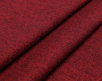 Yarn-dyed wool blend fabric—wool fabric, yarn-dyed, herringbone pattern, red, purple for coat, top, dress, pants, suit, craft by the yard