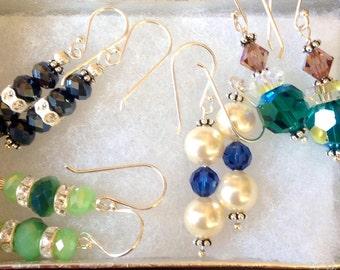 Swarovski pearls, swarovski crystal, sterling silver earrings, handmade earrings
