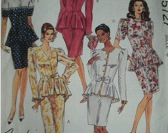 Misses Two-Piece Dress Size 6 McCalls Pattern 5727 Fashion Basics Petite-Able Pattern UNCUT 1991