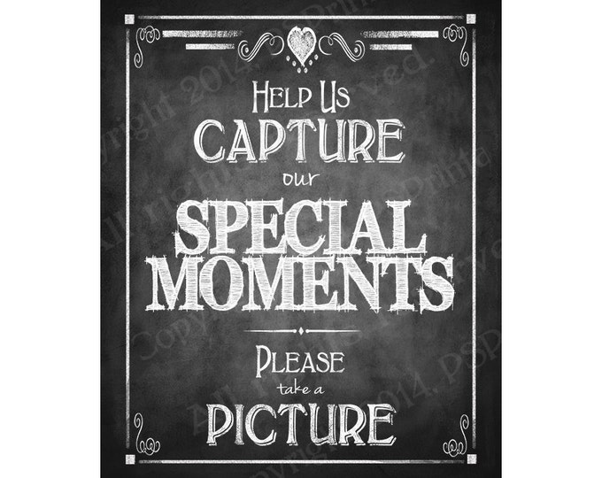 Instand photo or camera Wedding Sign - Help us Capture our Special Moments, Please take a picture - DIY - Rustic Collection