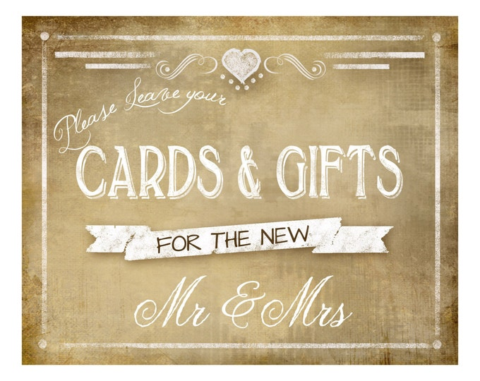 Printable Wedding Chalkboard CARDS & GIFTS sign - 5x7, 8x10 or 11 x 14 - instant download digital file - Vintage Heart Collection