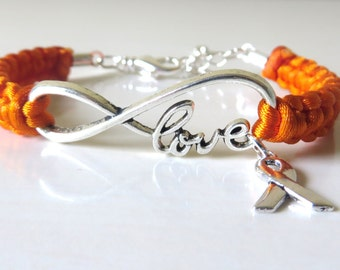 Orange Awareness Ribbon LOVE Charm Bracelet with Optional Hand Stamped Letter Initial Charm