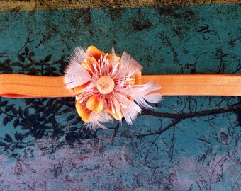 Orange baby girl headband, orange flower with feathers, baby girl fall headband