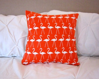 Coral flamingo with linen backing pillow cover, 16x16 in