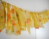 Vintage Sheet Garland - Yellow, Orange and Green Floral