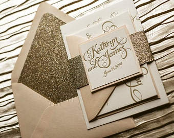 Blush & Gold Glitter Letterpress Wedding Invitation, Gold Glitter Wedding Invite, Calligraphy Invitation, Gold Invitation - Sample Set