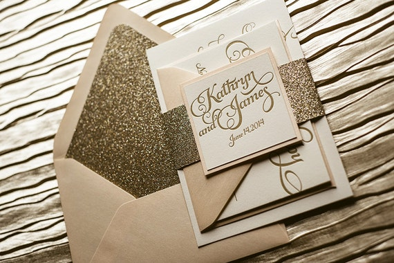 Expensive Wedding Invitation: Blush & Gold Glitter Letterpress Wedding Invitation Gold