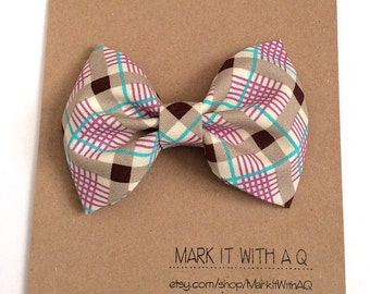 Purple Teal and Brown Plaid Bow