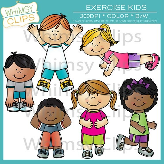 Exercise Kids Clip Art by WhimsyClipArt on Etsy