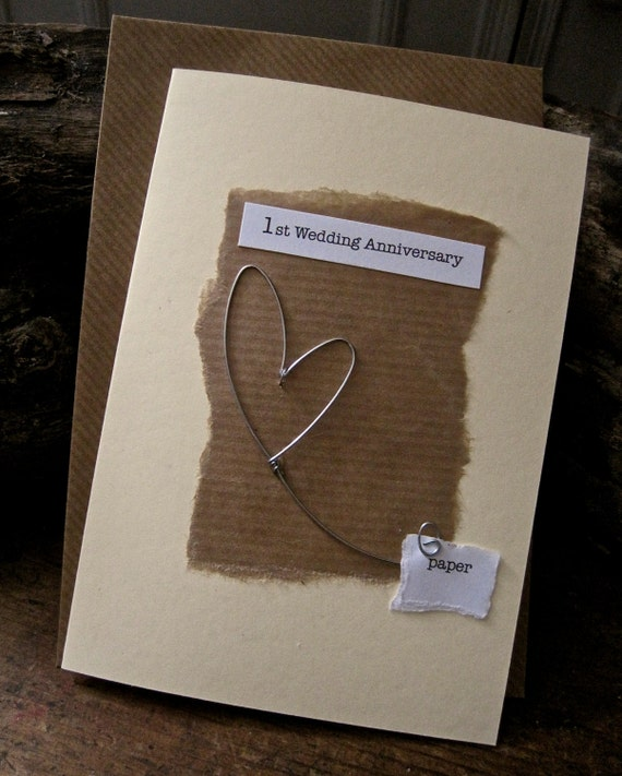 Traditional 1st Wedding Anniversary Gifts: Items Similar To 1st Wedding Anniversary Card With Paper