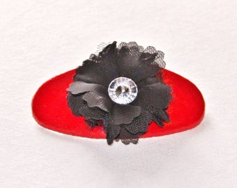 Red and Black Flower Barrette