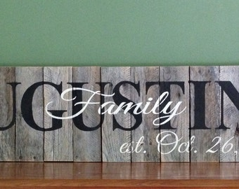 Last Name Pallet Sign: Personalized, Rustic, Hand Painted, Reclaimed Wood