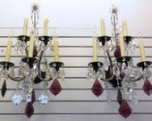 Pair Italian Venetian Crystal Wall Sconces w 5 Electric Lights and Metal Bronze Style Base -  From 1300 to 800