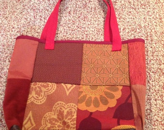 Fall red patchwork shoulder tote bag purse -  made from upcycled upholstery fabric samples