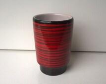 Waechtersbach, Vase (Rio), Red, Black, Nr 0150, West German Pottery, 1950s