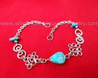 Green Turquoise Teardrop Alpaca Silver Diamonds Bracelet Peruvian Jewelry - Handmade in Peru